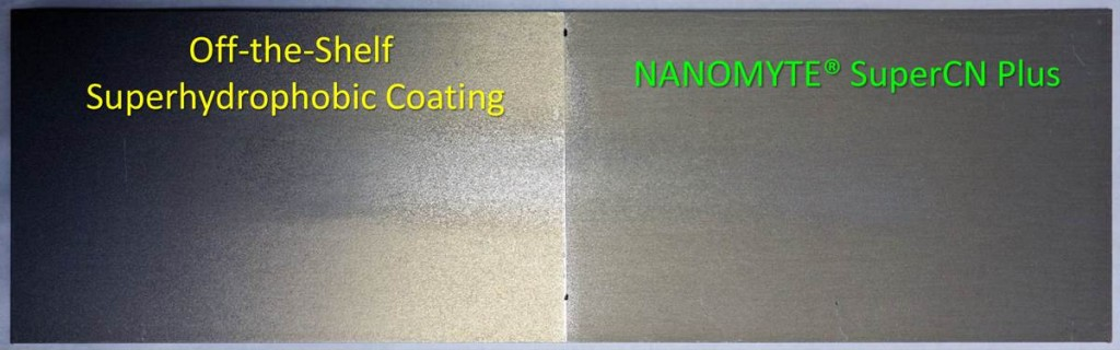 Both panels above were coated with superhydrophobic coatings and subjected to equal abrasion conditions. The panel on the left (commercial coating) shows abrasion marks, while the panel on the right (SuperCN Plus) shows no visible signs of wear.
