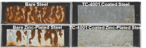 TC-4001 coated panels on right show no signs of white or red rust after 1,000 hours in salt-spray test (ASTM B117). Coating is approx. 10 microns thick.